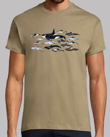 t-shirt da uomo orche, delfini e blackfish
