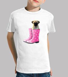 t-shirt del bambino, carlino e stivali rosa acqua