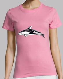 t-shirt delfino fianchi bianco donna, manica corta, colore rosa, di qualità premium