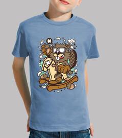 t-shirt dessin anime animal castor juvénile