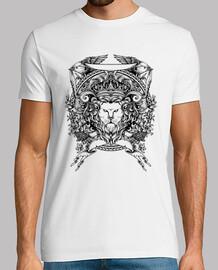 t-shirt disegno leone vintage scudi vintage