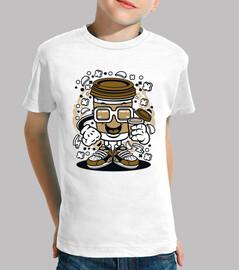 t-shirt divertente della bicchiere caffè del cartoni animati
