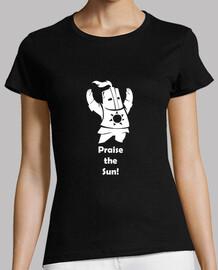 t-shirt donna - dark souls - cavaliere solaire - lodare il sole - bianco