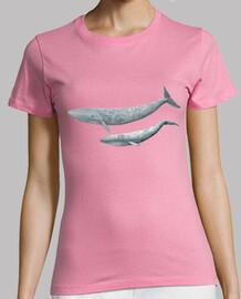 t-shirt donna blu balena (balaenoptera musculus)