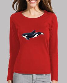 t-shirt donna orca, manica lunga, rosso