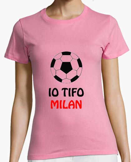T-shirt donna rosa tifo milan
