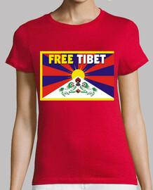 t-shirt donna rossa - free tibet