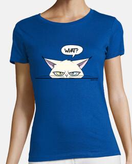 t-shirt donna scontrosa da gatto bianco