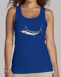t-shirt donna senza maniche, blu royal