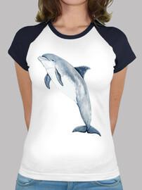 t-shirt donna tursiope, stile baseball, bianca e blu royal