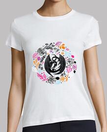 t-shirt drache blumig