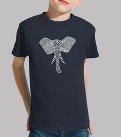 t-shirt elefante frontale bianco, bambini @
