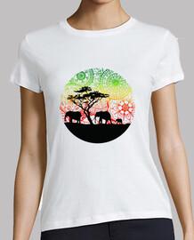 t-shirt elefanti famiglia, donna