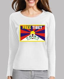 t-shirt equipaggiata manica lunga viola woman - free tibet
