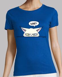 t-shirt femme chat blanc grincheux