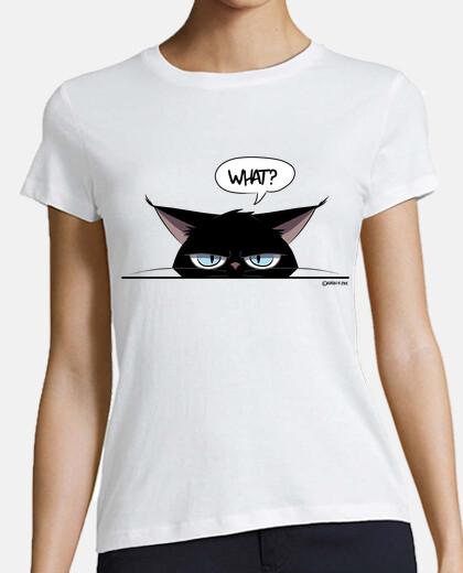 t-shirt femme chat noir grincheux