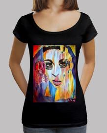 T-shirt femme col ample & Loose fit, Noir