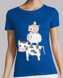t-shirt fille manches courtes ferme differentes couleurs et modeles