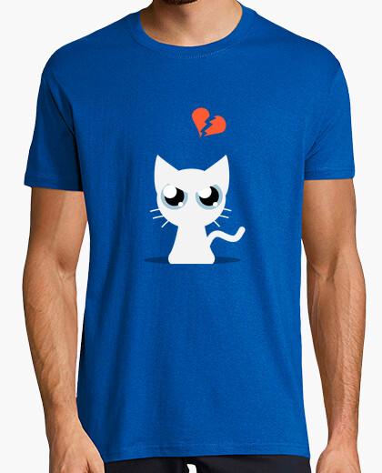 T-shirt gatto bianco arrabbiato