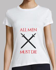 t-shirt gioco del trono: tutti gli uomini devono morire