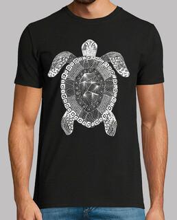 t-shirt homme tortue zentangle blanc