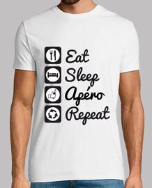 T-shirt humour,alcool,eat,sleep,apéro