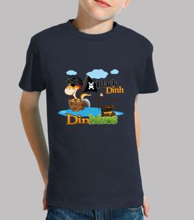 t-shirt kind dinh schwarze pirat dinosaurier