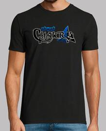 t-shirt logo wowchakra completa neon blu