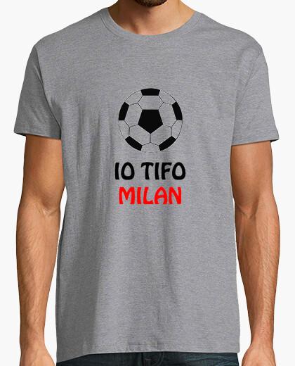 T-shirt Maglietta grigia tifo milan uomo