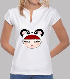 t-shirt mandarin collar panda girl