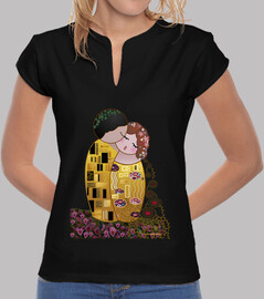 t-shirt mandarin collar style kokeshi klimt the kiss