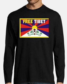 t-shirt manga long n / b boy - free tibet