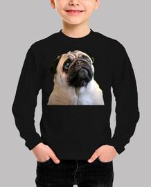 t-shirt manica lunga bambino disegno pug cane faccia carlino