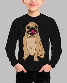 t-shirt manica lunga disegno ragazzo disegno cane carlino carlino