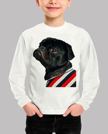 t-shirt manica lunga per bambini con disegno carlino cane carlino con camicia a righe