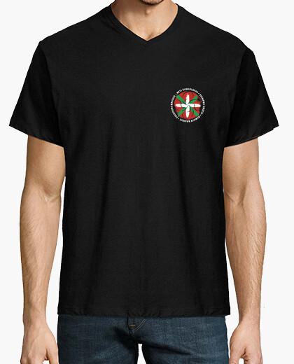 T-shirt manicotto collare a V chiuso-...