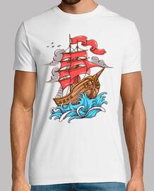 t-shirt marinaio navicella vintage oceano mare capitano ancora