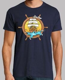 t-shirt marinaio tattoo navicella timone vintage vintage pirati