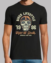 t-shirt motos motards crâne style vintage