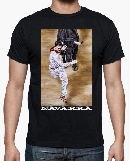 T-shirt navarra sfondo scuro - corto -...