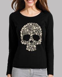 t-shirt nera con teschio fiore (ragazza)