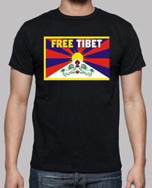 t-shirt nera corta unisex manica - free tibet