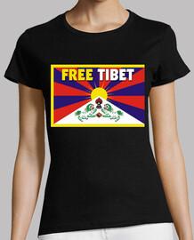 t-shirt nera donna - free tibet