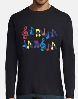 t-shirt nera note musicali