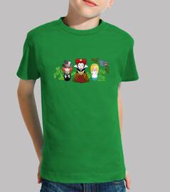 t-shirt nin @ le kokeshi alice nel nazione del le paese delle meraviglie