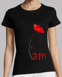 T-Shirt Noir Femme - IAM coquelicot