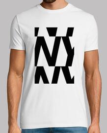 t-shirt ny uomo, manica corta, bianca, qualità extra