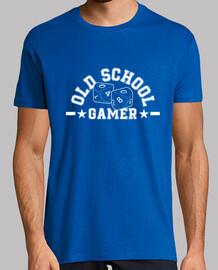 t-shirt old school gamer bianco