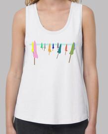 T-shirt parasols femme bretelles amples et Loose Fit, Blanc
