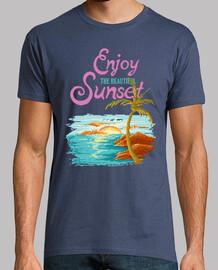 t-shirt pixel art sunset vintage anni '80 anni '90 vintage sole spiaggia palme